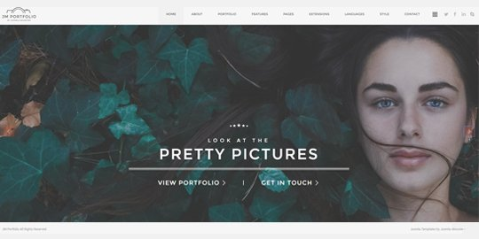 Portfolio with top menu bar